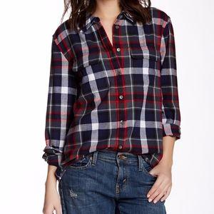 Equipment Blue Plaid Button-Down Flannel Shirt